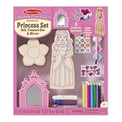 Melissa & Doug Decorate-Your-Own Wooden Princess Set Craft Kit - Doll, Treasure Box, and Mirror: Melissa & Doug: Toys & Games