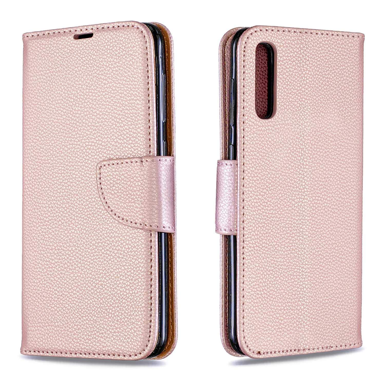 Galaxy A50 Case, Bear Village Premium PU Wallet Protective Case with Kickstand Function, Wrist Strap and Card Slots for Samsung Galaxy A50, Rose Gold by Bear Village