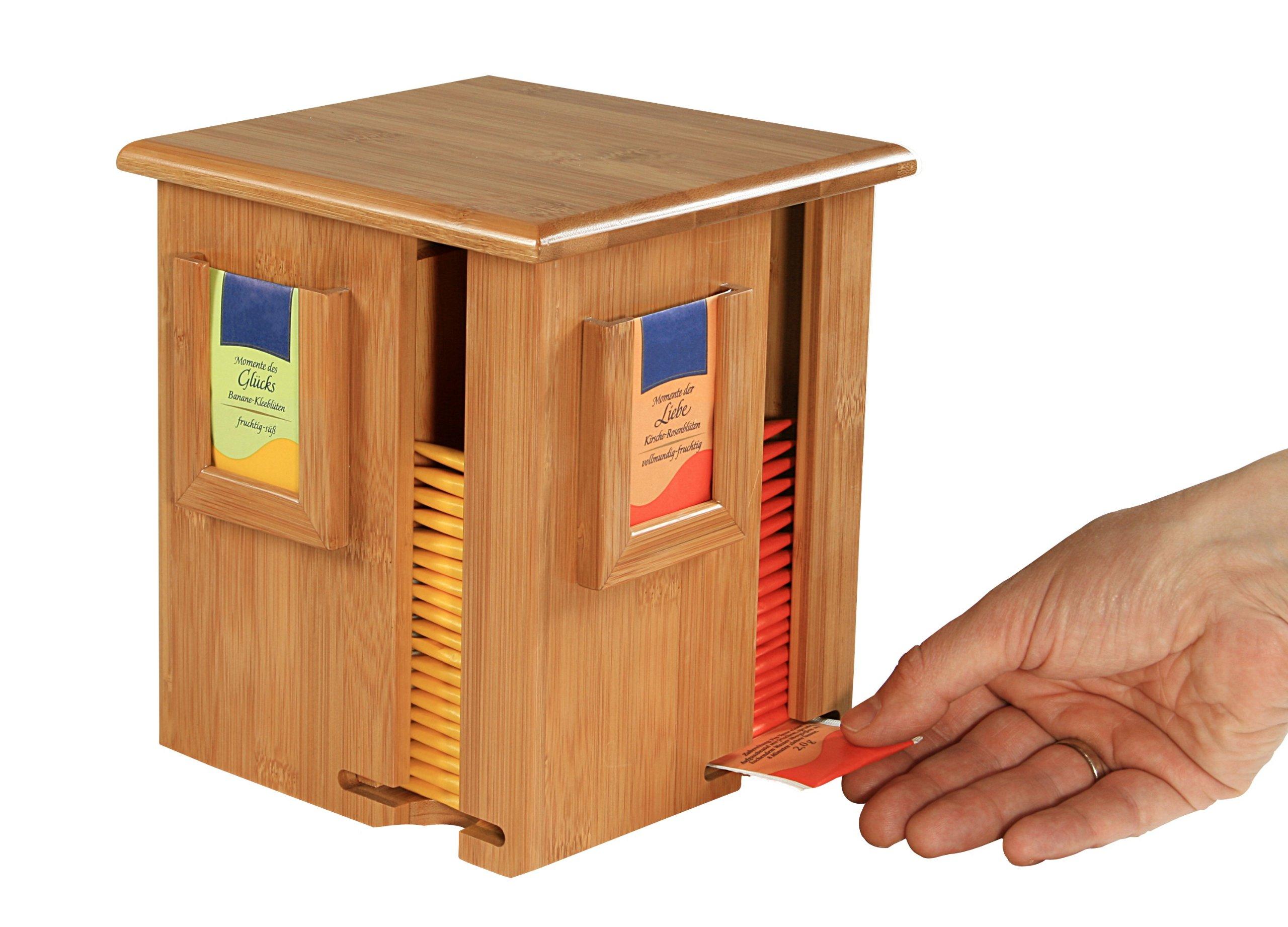 Kesper Tea Bag dispenser 6.3'' x 6.3'' x 7.87'' of Bamboo, Brown by Kesper (Image #1)