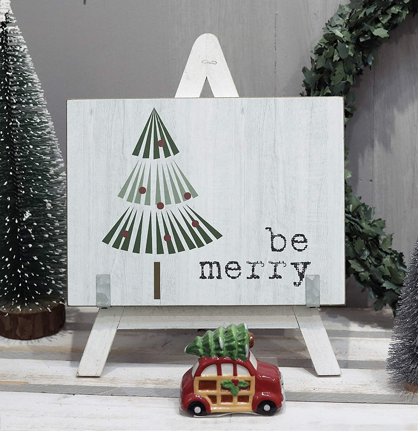 Be Merry Wood A-Frame Tabletop Sign with Printed Christmas Tree,Freestanding Chirstmas Decor
