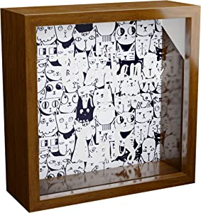 Cat Gifts  6x6x2 Shadow Box with Glass Front   Cats Themed Wooden Memorabilia Picture Frame   Fun Art Prints for Cat Lovers   Special for Home & Office Decor