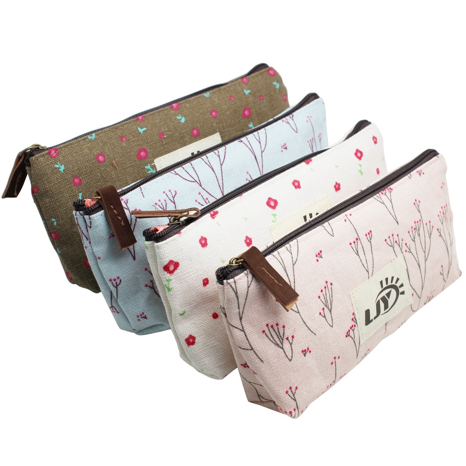 LJY Assorted Flower Floral Canvas Pen Holder Stationery Pencil Pouch Cosmetic Bags, 4 Piece
