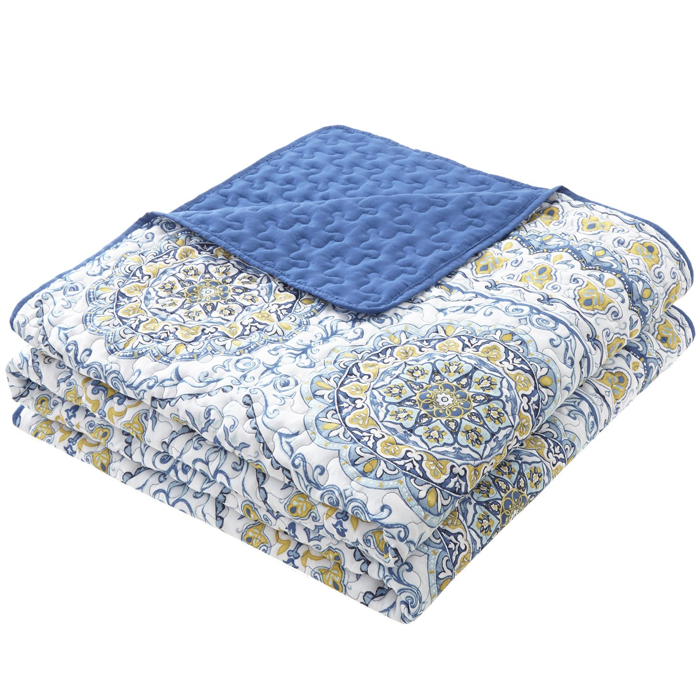 Home Essence Taya 3 Piece King Quilt Set Reversible Solid Printed Medallions Pattern Light-Weight Rustic Coverlet Soft Microfiber Bedding for All Season, Blue by Home Essence (Image #3)