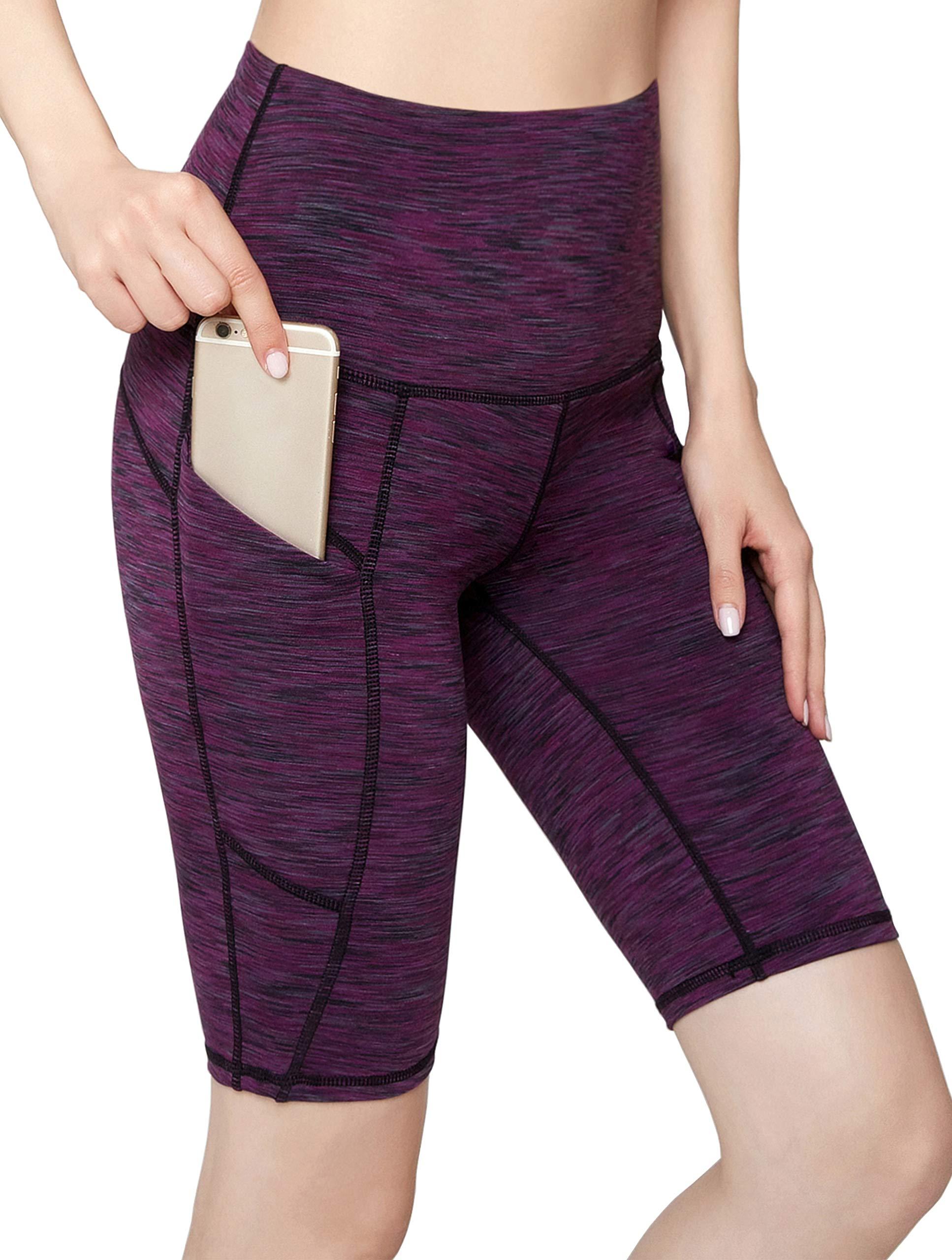 Oalka Women's Short Yoga Side Pockets High Waist Workout Running Shorts Space Dye Camo Purple XXL by Oalka