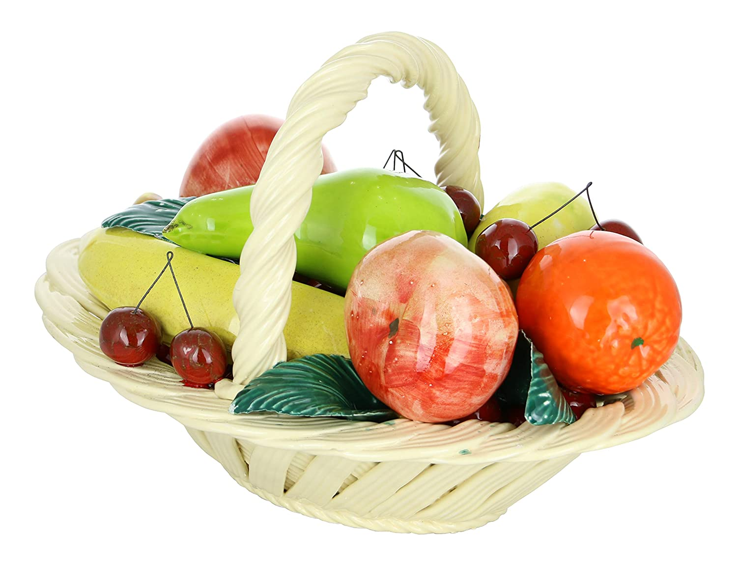 """Capodimonte Authentic Italian Multi-Color Fruit Basket w/Handle 13"""" x 9"""" Made in Italy Large Centerpiece"""
