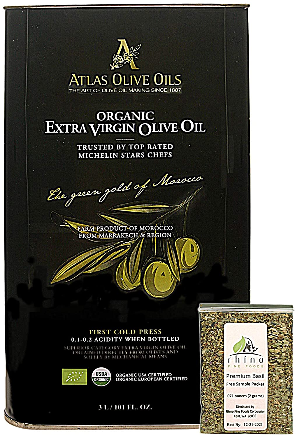 Atlas Olive Oils SARL, Moroccan Organic Extra Virgin Olive Oil (EVOO), 3 Liter, Cold Pressed, Polyphenol Rich, Imported from Morocco, 101 Fl Oz + Includes-Free Basil from Rhino Fine Foods, .071 Oz