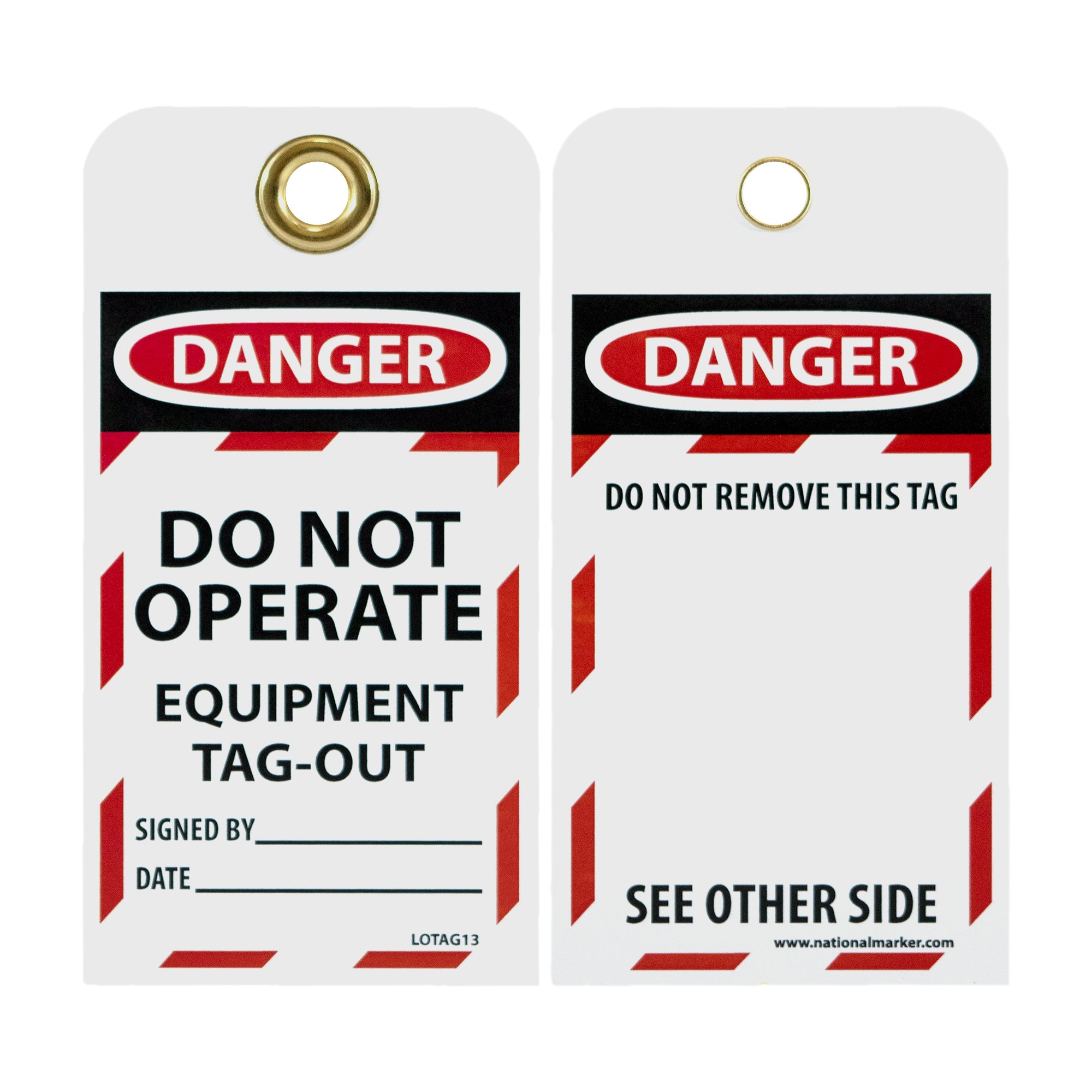 NMC LOTAG13 Lockout Tag, ''DANGER - DO NOT OPERATE - EQUIPMENT TAG-OUT,'' 6'' Height x 3'' Width, Unrippable Vinyl, Red/Black on White (Pack of 10) by NMC