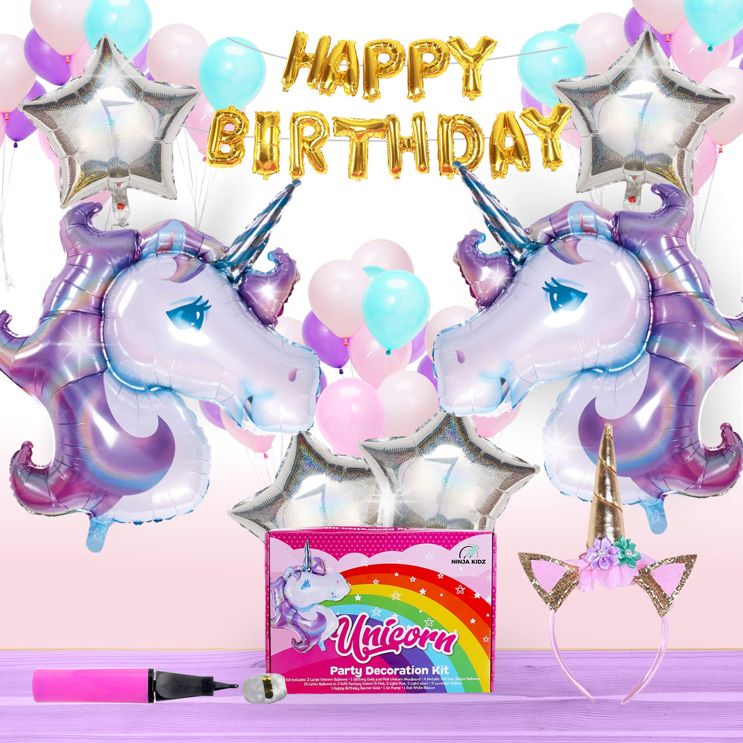 Unicorn Party Supplies | Birthday Theme Party Decorations | Party Favors with 26 Colorful Latex, Mylar Balloons, Gold Happy Birthday Banner, Unicorn Horn Glitter Headband, Air Pump & String in Box