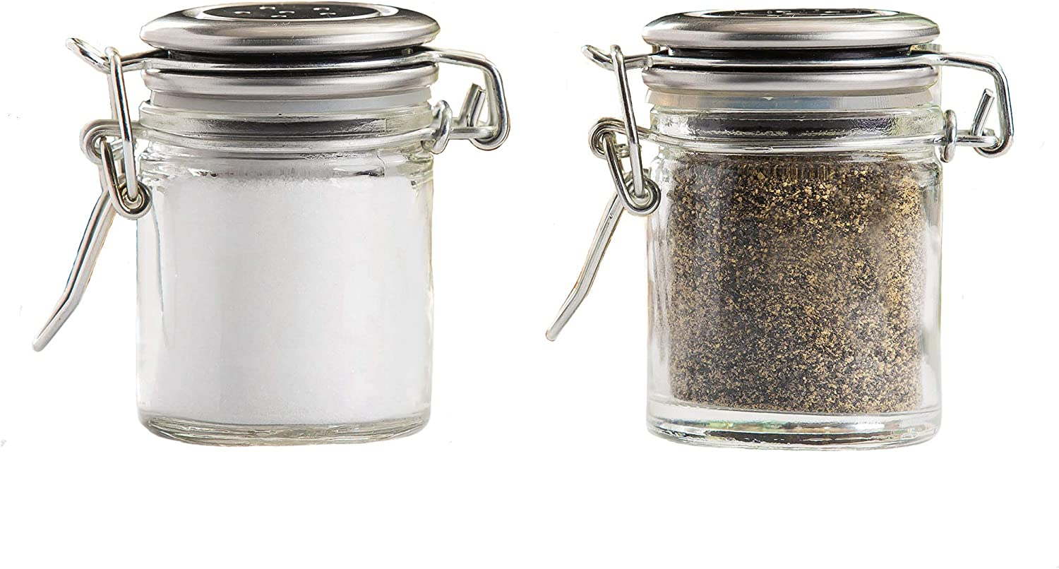 1.5 oz. Salt and pepper shakers set with Stainless Steel Clip-Top Lid Salt shakers