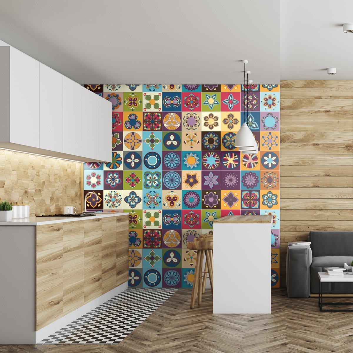 60 pi/èces 20 x 20 cm Stickers adh/ésifs carrelages muraux azulejos