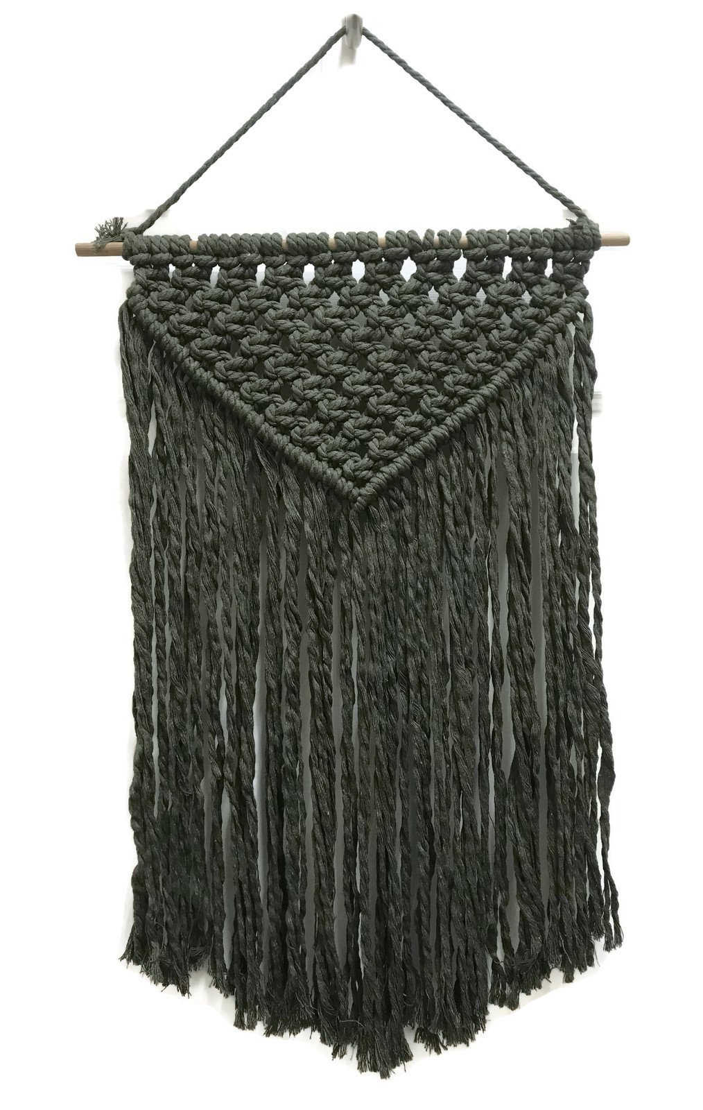 Cheerful with Color Macrame Wall Hanging :: 100% Pure Cotton Boho Wall Decor for Living Room, Bedroom & Kitchen :: Includes Wood Dowel & Hanging Cord, 13.5'' Wide x 23.5'' Long, Olive Green