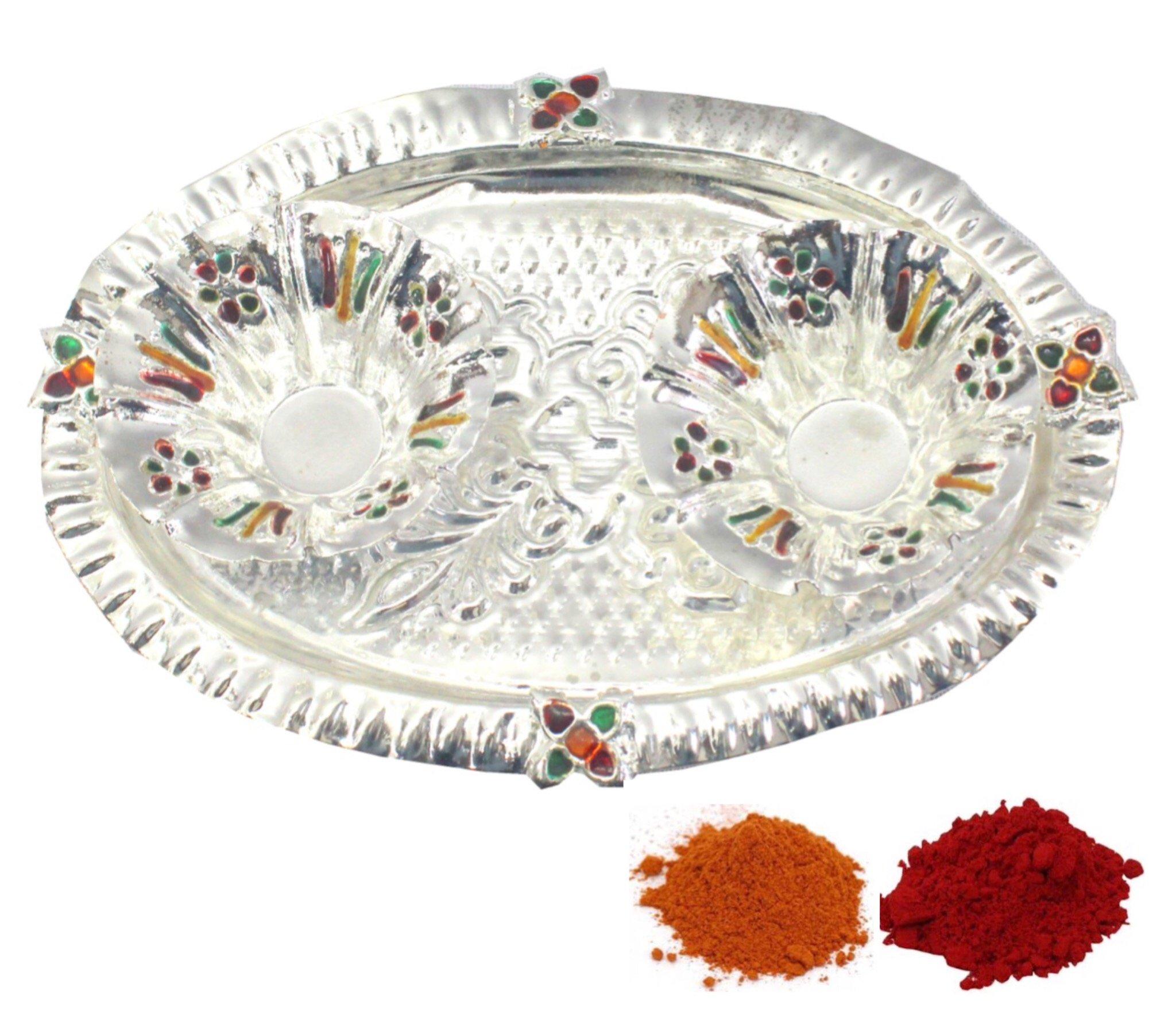 Indian Traditional Decorative Pooja thali Beautiful Lakshmi Festival Ethnic Gift for her/Kankavati / Diwali/Indian Handicraft/Home / Temple/Office / Wedding Gift/Bulk Gift. GS11