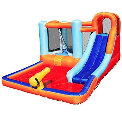 Giant Inflatable Bouncing Castle with Trampoline and Pool | Inflatable  Water Toys for Kids| Fun Bounce House Slide Castle Playhouse Pool-Party