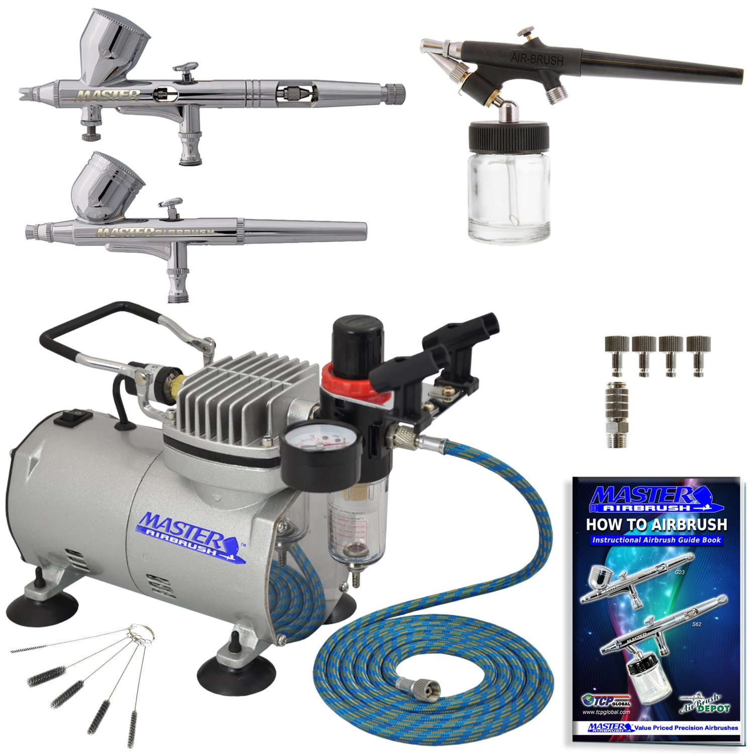 Professional Master Airbrush Fine Detail Control Airbrushing System with 3 Ma...