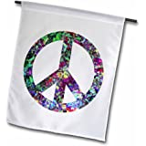 3dRose fl_53329_1 Garden Flag, 12 by 18-Inch, Colorful Peace Sign-Enjoy This Digital Artwork Featuring a Colorful Peace Sign