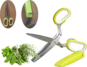 Herb Scissors Multipurpose Kitchen Scissors, Kitchen Shears with 5 Layers Stainless Steel Blades, Non-Slip Ergonomic Handles, Includes Cover and Cleaning Comb Shredding, Chopping, Cutting