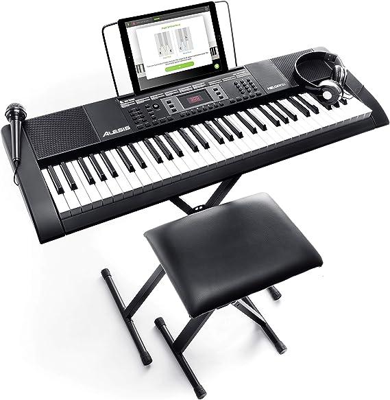 Alesis Melody 61 MKII – Teclado electrónico/Piano digital con 61 teclas, altavoces integrados, auriculares, micrófono, soporte para piano, atril y ...