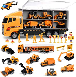 Toddler Boy Toys, FUNTOK 25 in 1 Construction Truck Toys for Boys Age 4-7,Die-cast Construction Cars Toy Set Play Vehicle in Carrier Truck Gifts Cars Toddlers Toys for Children Kids