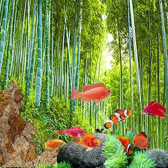 Leo565Tom Acuario pecera Fondo 61 x 30 cm / 91 x 50 cm Pintura Decorativa de PVC Grueso Bosque de bambú Vivo Escena Adhesivo para Acuario océano Paisaje ...