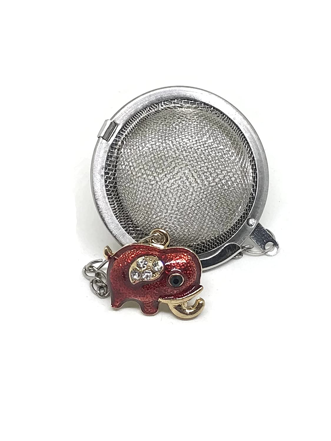 Tea Infuser Ball Light Gold with Red Enamel and Rhinestones Elephant Weight Handmade
