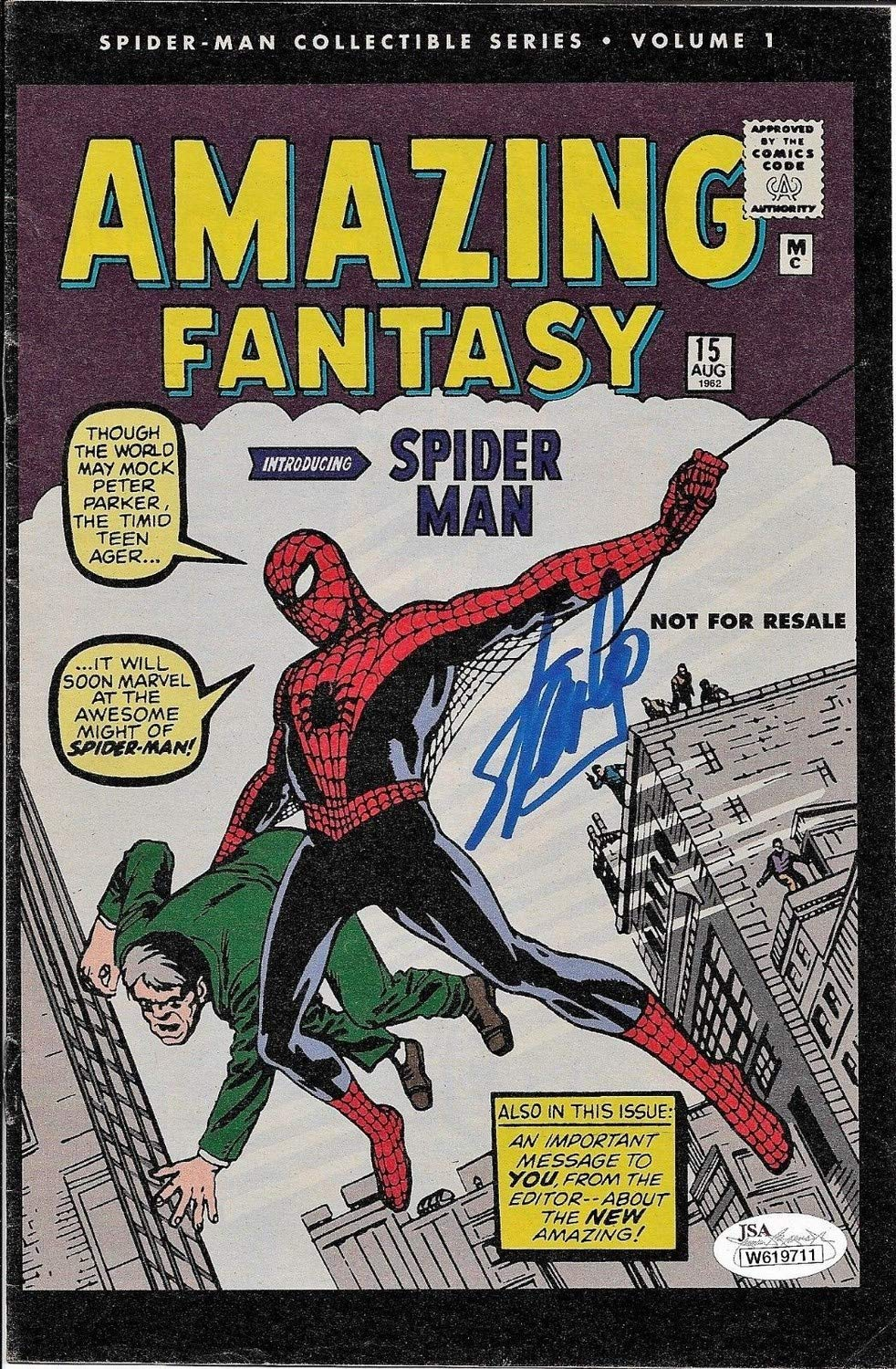 Stan Lee Autographed Signed Amazing Fantasy Spider Man Comic Book JSA Authentic