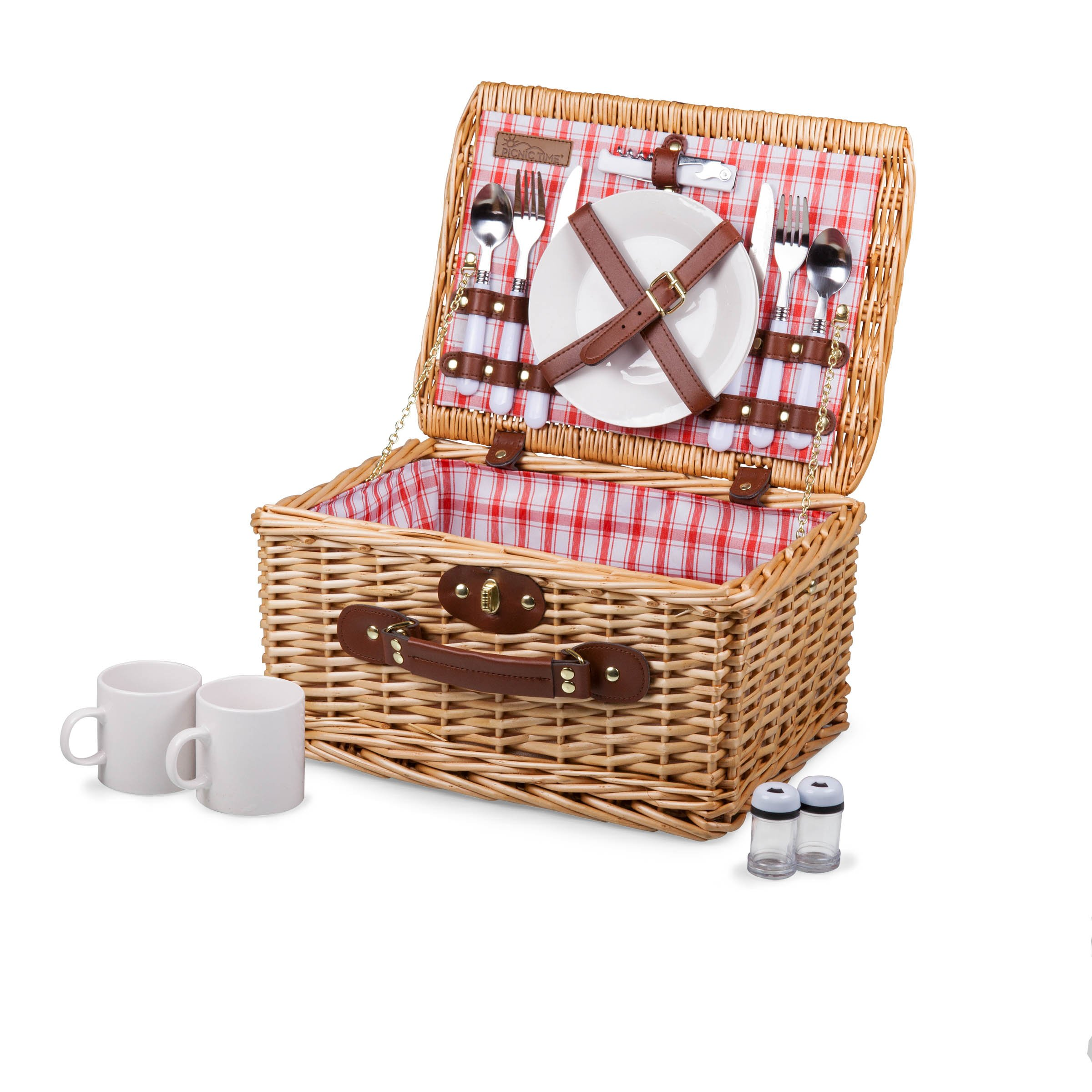 Picnic Time Catalina English Style Picnic Basket with Service for Two, Red and White Plaid by PICNIC TIME