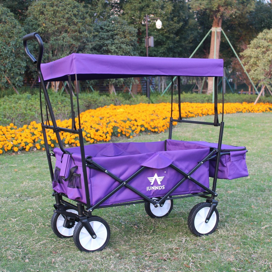 Sports God Folding Wagon Collapsible Utility Graden Cart with Removable Canopy + Storage Basket + FREE Cooler (Purple) by Sports God (Image #7)