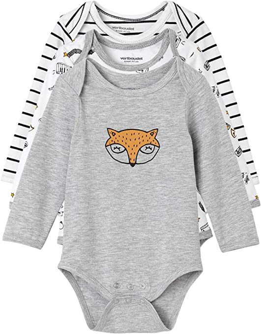 Vertbaudet - Juego de 3 bodies evolutivos para bebé (algodón elástico, manga larga), diseño de peces gris LOT GRIS CLAIR CHINE - SET OF Talla:24M - 86CM: Amazon.es: Bebé