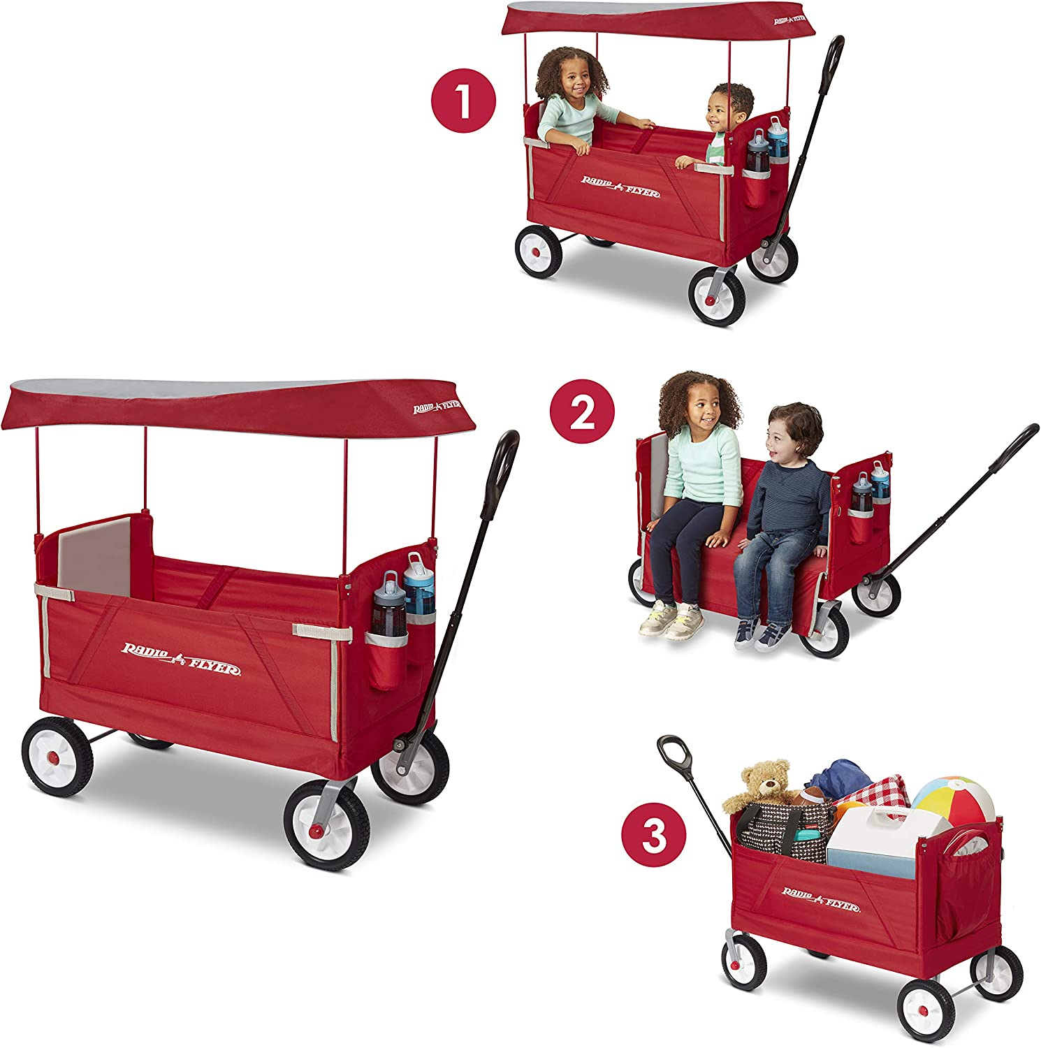 Radio Flyer 3 in 1 Off-Road EZ Fold Outdoor Collapsible Wagon for Toddlers and Cargo