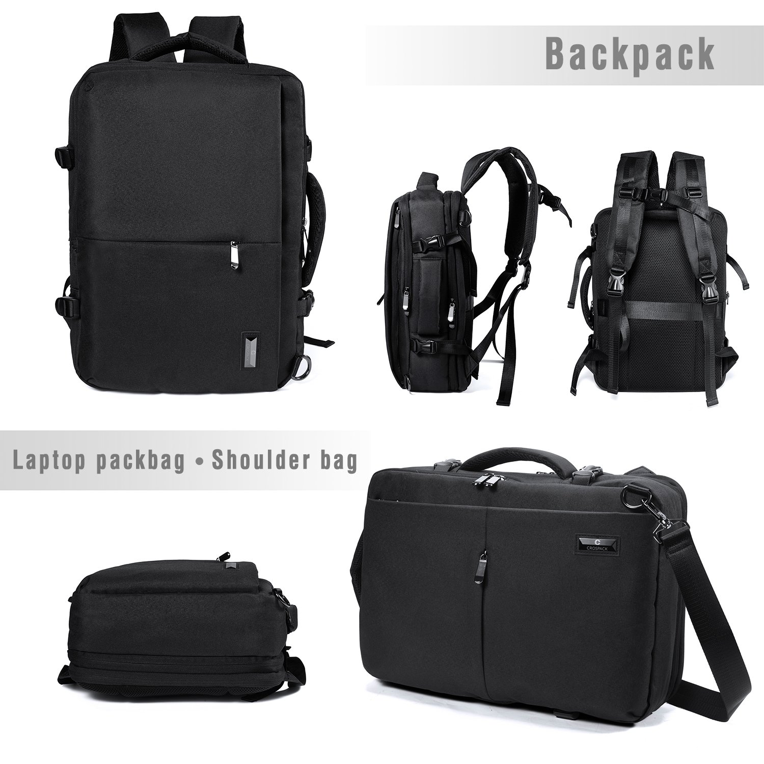 Crospack 35L Carry on Backpack Flight Approved Compression Travel Pack Cabin Bag Duffel Hiking Backpack Water-resistant Camping Backpack Large Capacity Laptop Backpac Black by Syntrific (Image #4)