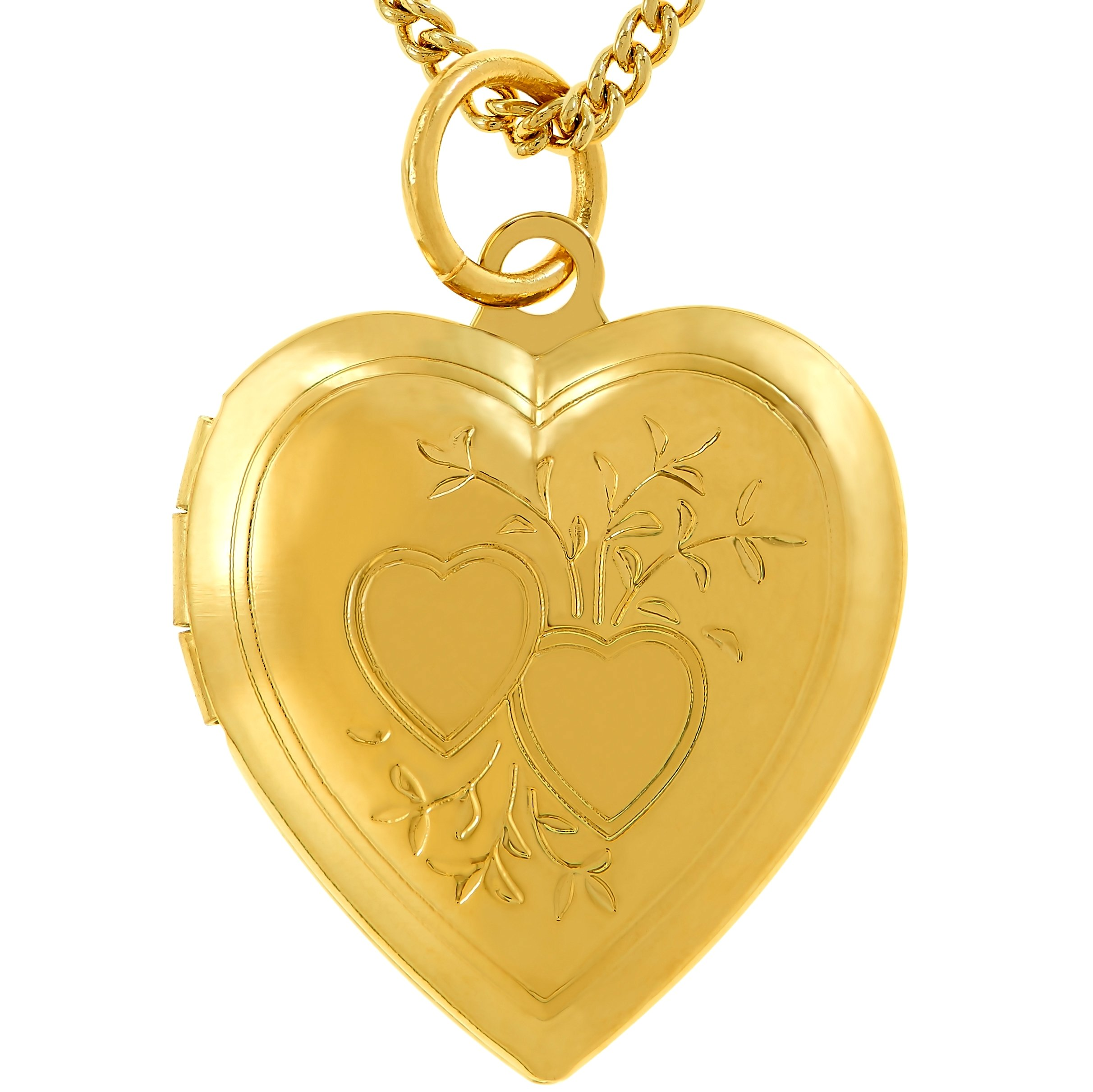 Lifetime Jewelry Heart Locket For Pictures, Double Heart Design, 24K Gold Over Bronze (Locket & Chain)