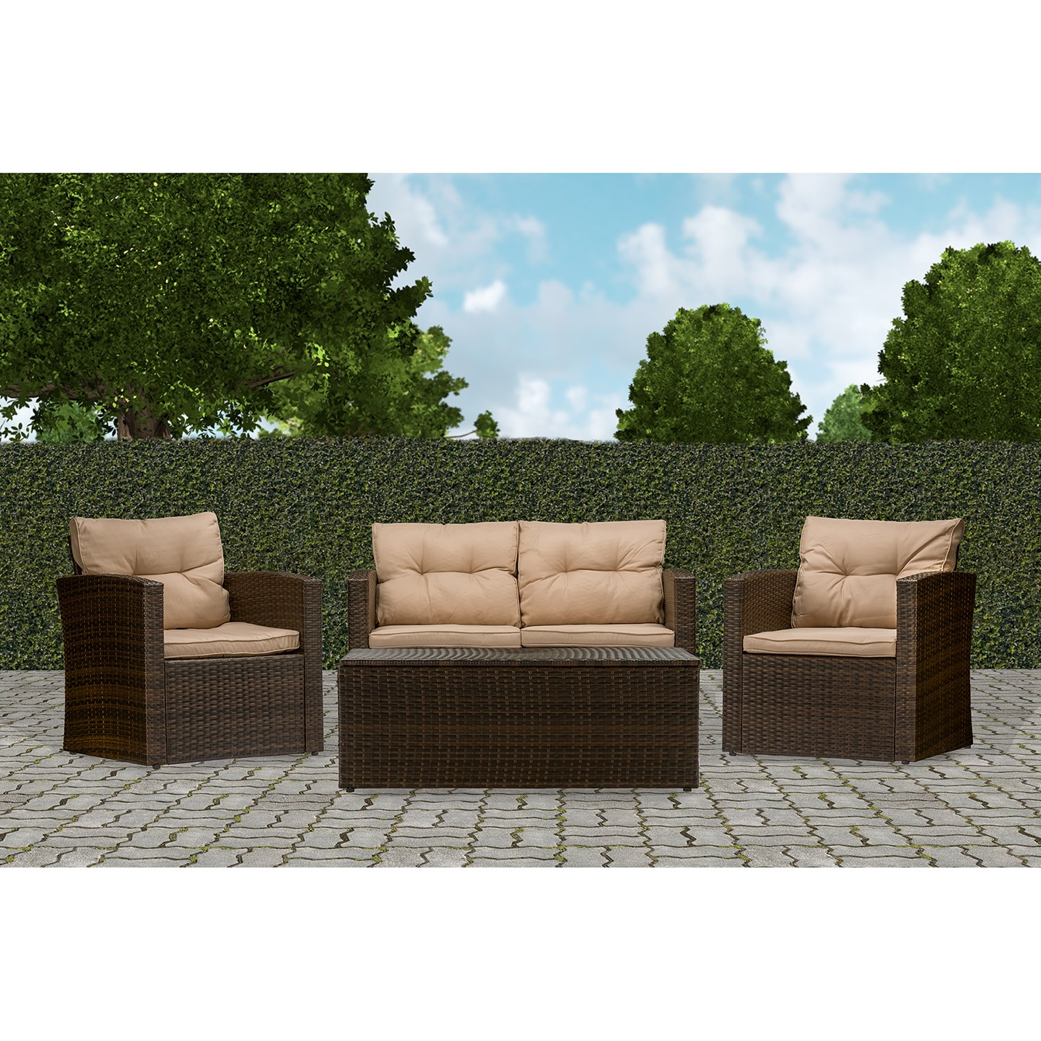 Baxton Studio Wholesale Interiors Imperia Modern and Contemporary PE Rattan 4 Piece Outdoor Loveseat