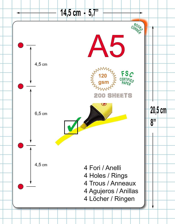 CON 4 FORI Ricambio formato A5 15x21cm per raccoglitore a 4 anelli calendario settimanale con orari