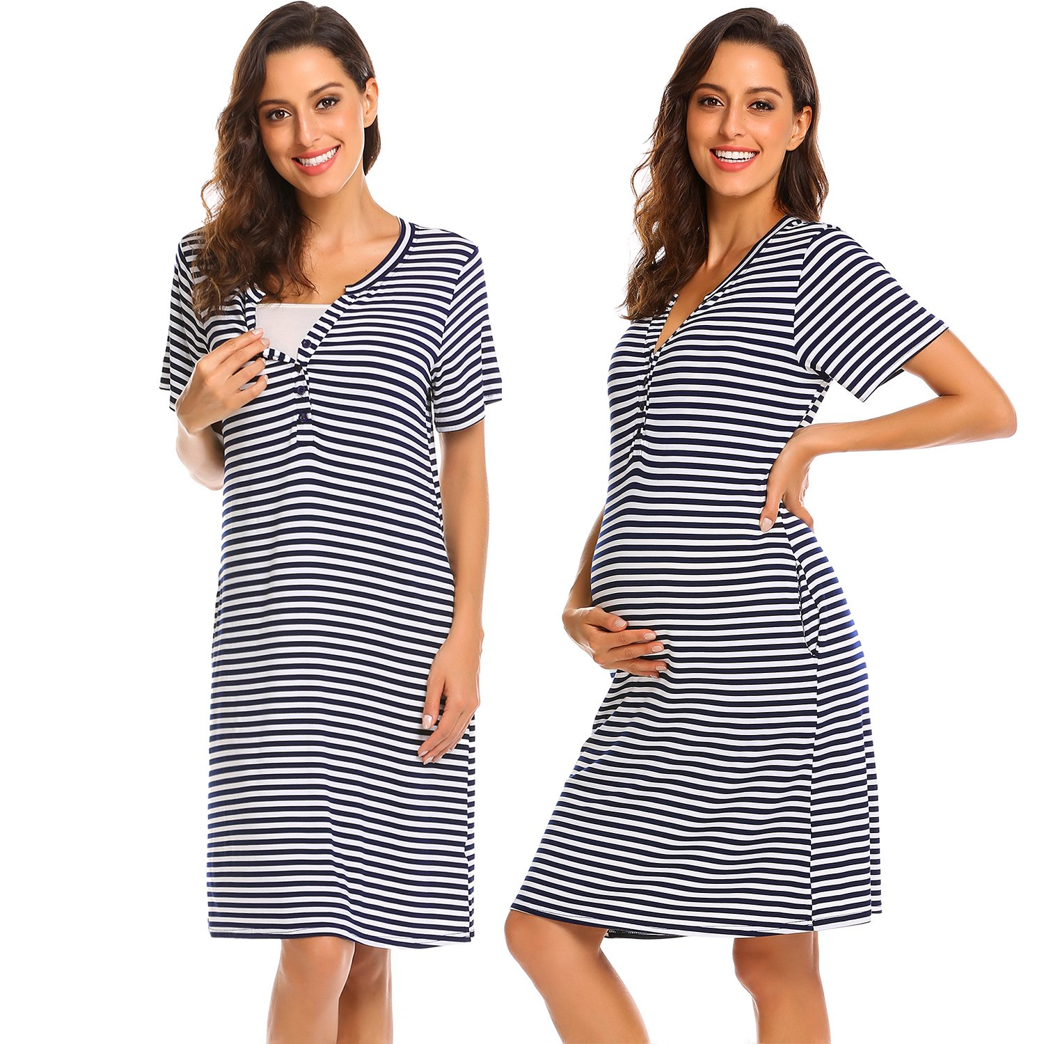 Ekouaer Women Short/Long Sleeve Nightgown Striped Nursing Nightgown Breastfeeding Sleep Dress KSK008909