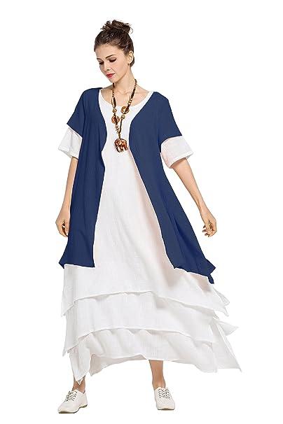 b0826a36934 Anysize Contrast Color Dress Linen Cotton Spring Summer Plus Size Dress  F128A  Amazon.ca  Clothing   Accessories