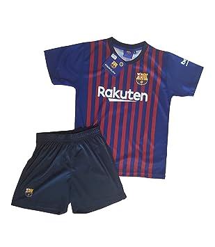 ed7a0b297 Conjunto Camiseta y Pantalon 1ª Equipación 2018-2019 FC. Barcelona -  Réplica Oficial Licenciado - Dorsal Liso - Niño: Amazon.es: Deportes y aire  libre