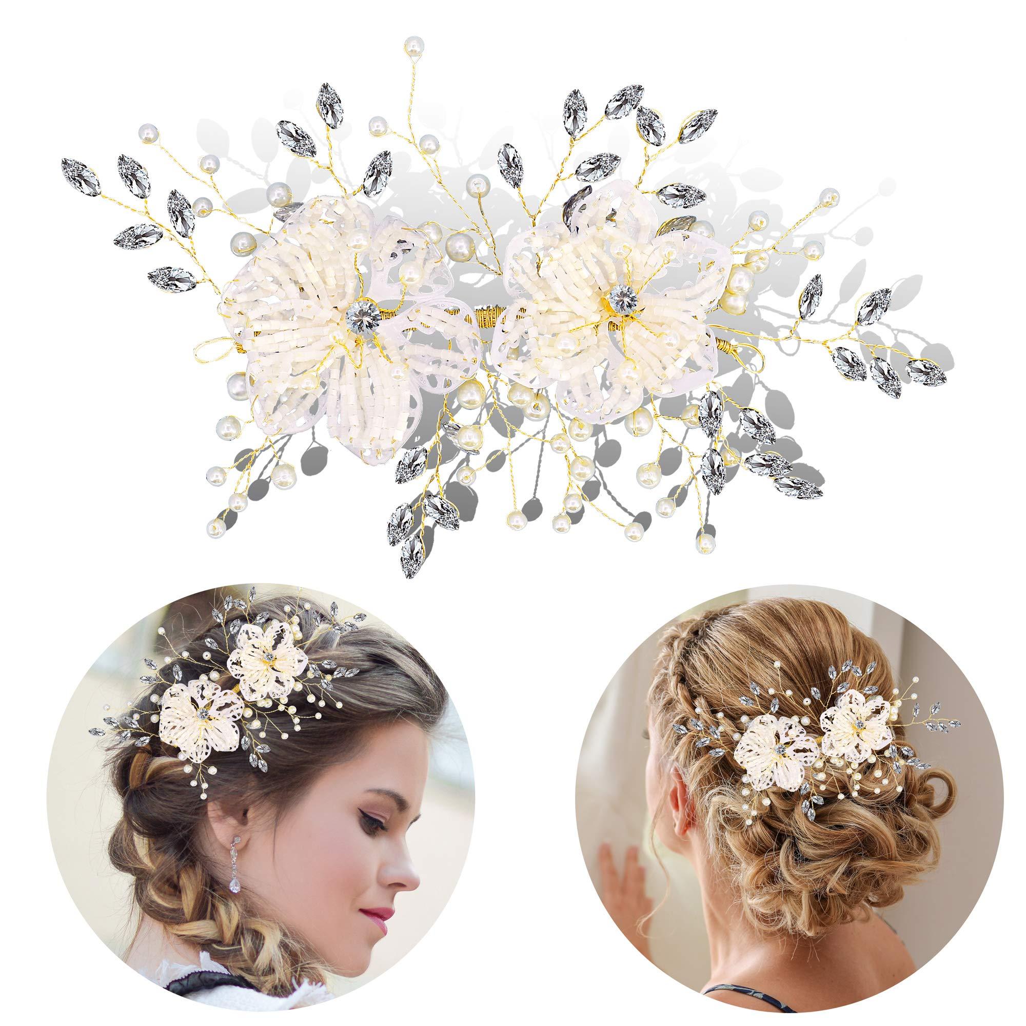 Bocianelli Wedding Headpieces Flower Wreath, Pearls Headband Tiara, Crystals Hair Accessories for Bride Bridesmaid, (Silver & Gold)