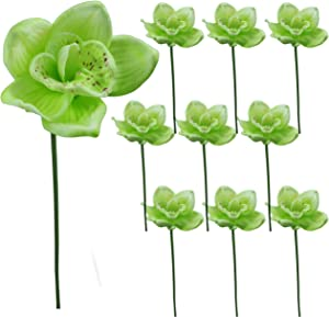 Lily Garden Latex Real Touch Cymbidium Orchid Stem Set of 10 (Green)