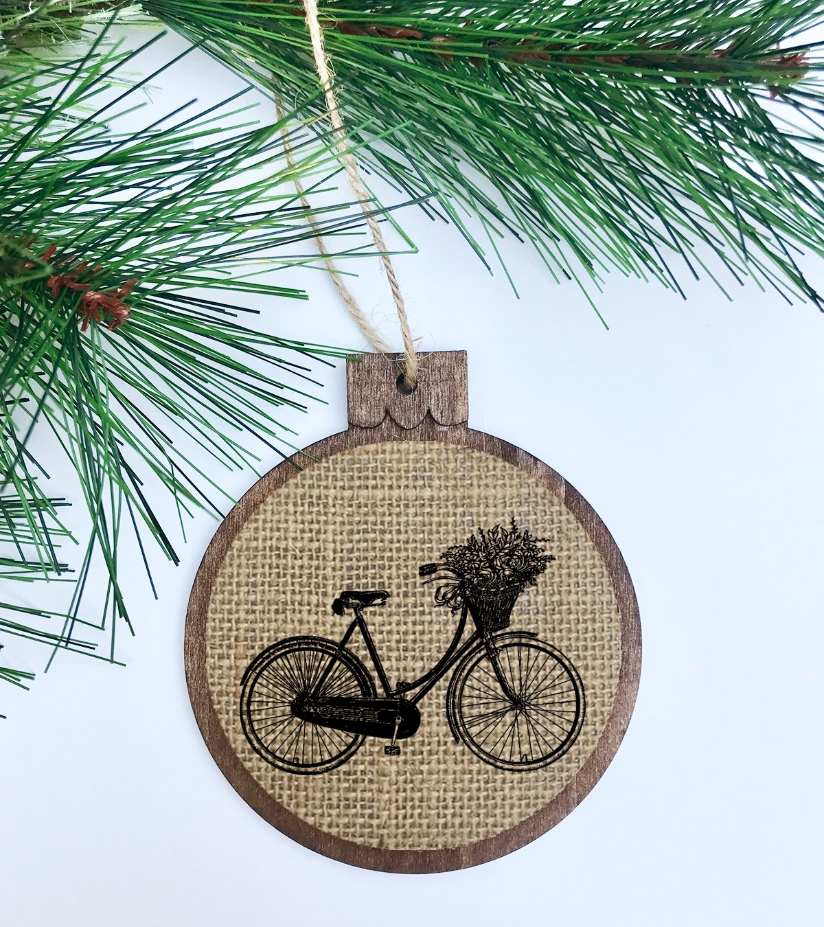 Amazon Com Vintage Bicycle Rustic Christmas Tree Ornament Wood