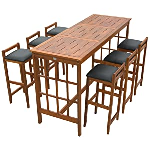 HOMCOM 7 Piece Dining Table Set Bar Acacia Wood Iconic Prairie School Style Bar Height - Table/ 6 Stools