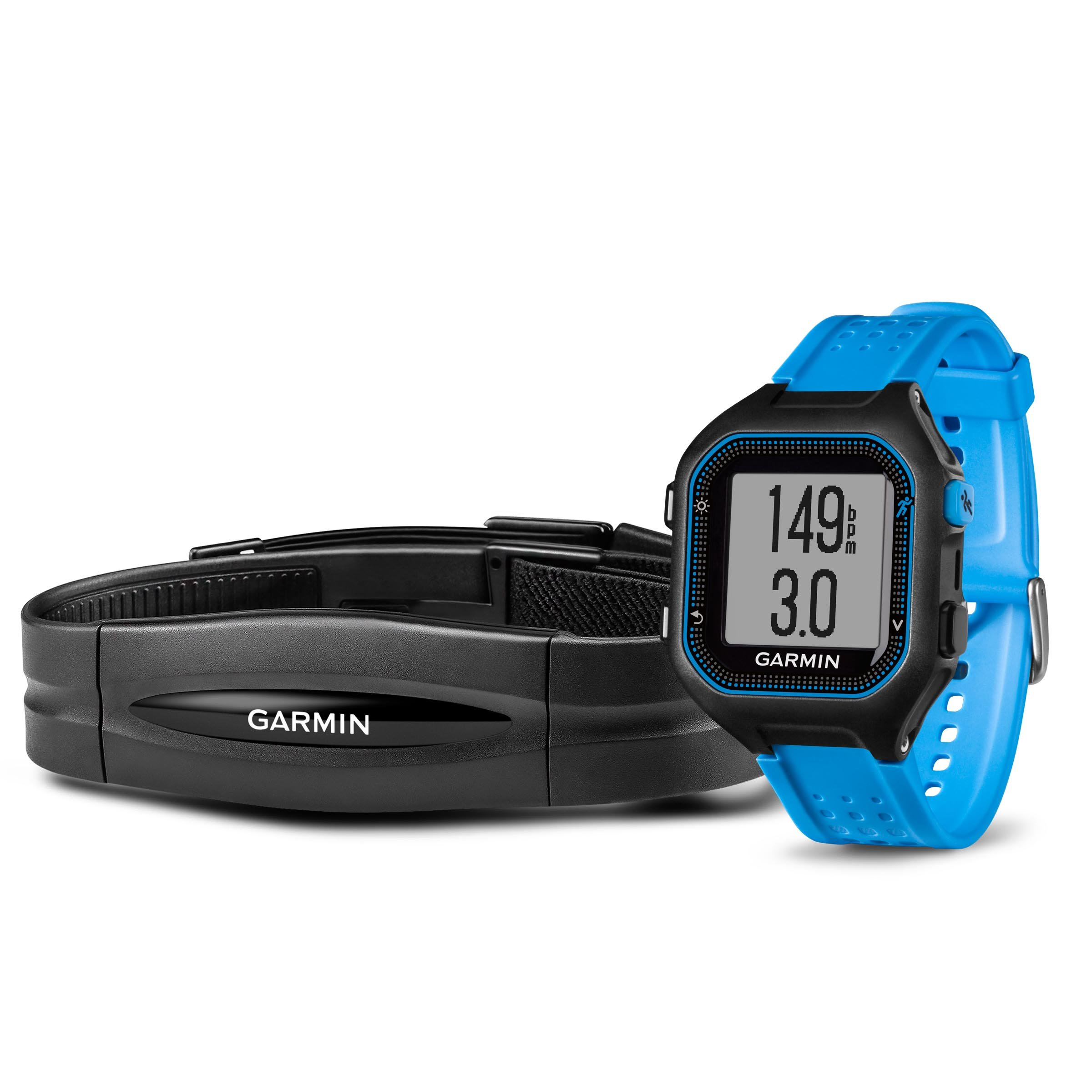 Garmin Forerunner 25 Bundle with Heart Rate Monitor (Large) - Black and Blue by Garmin