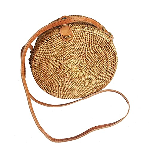 b83cf552c0089c Rattan Nation - Handwoven Round Rattan Bag (Plain Weave Leather Closure),  Straw Bag