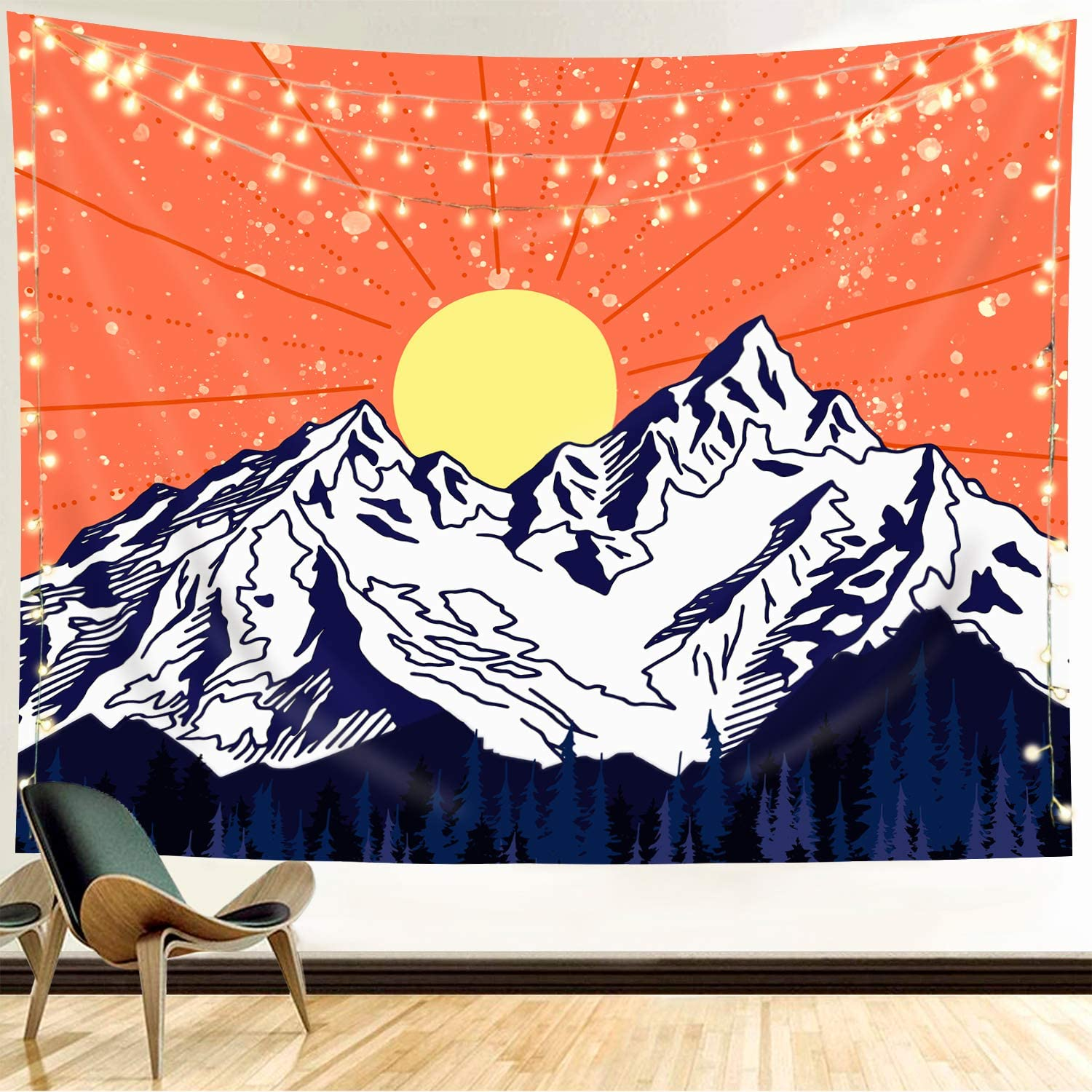 Funeon Snow Mountain Tapestry Wall Hanging Cool Sun Tapestry Nature Forest Tapestry for Bedroom Teen Girls Small Cute Landscape Blue White Orange Tapestry for Wall Indie Room Decor Aesthetic 51x60inch