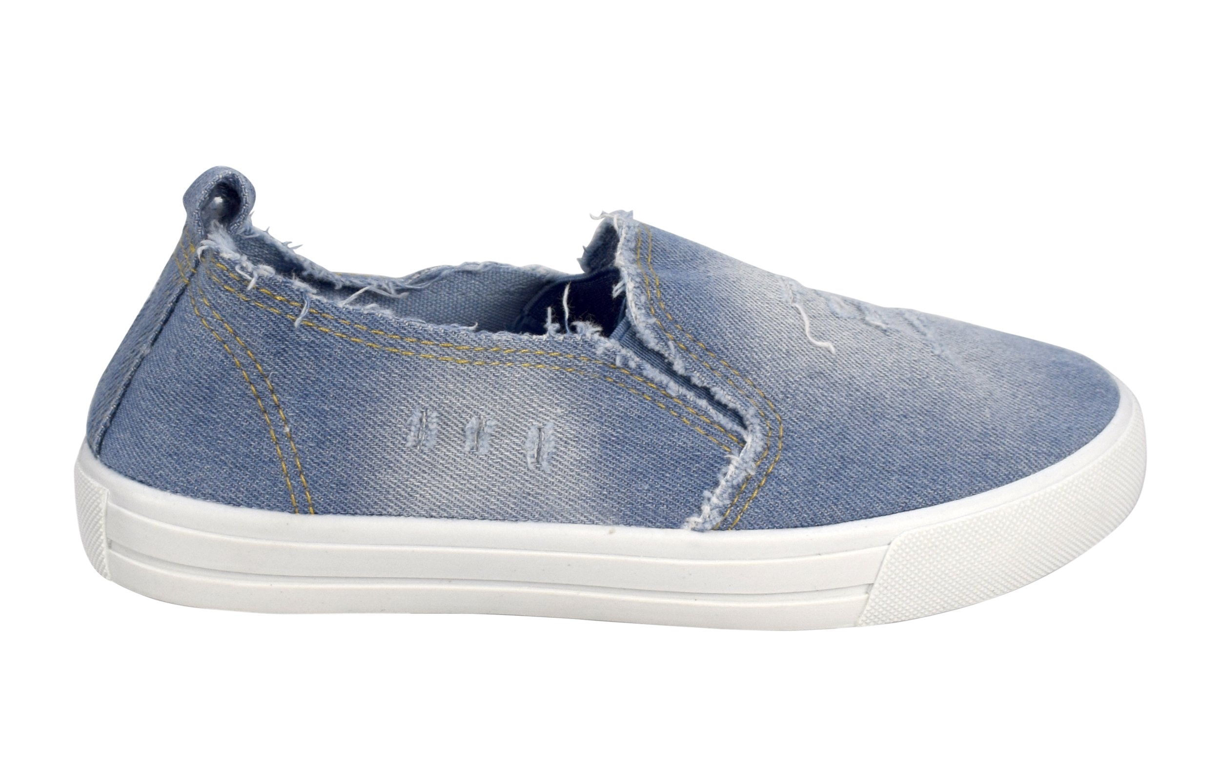 Peach Couture Womens Fashion Distressed Denim Casual Shoes Slip On Sneakers (L Blue 8) by Peach Couture (Image #4)