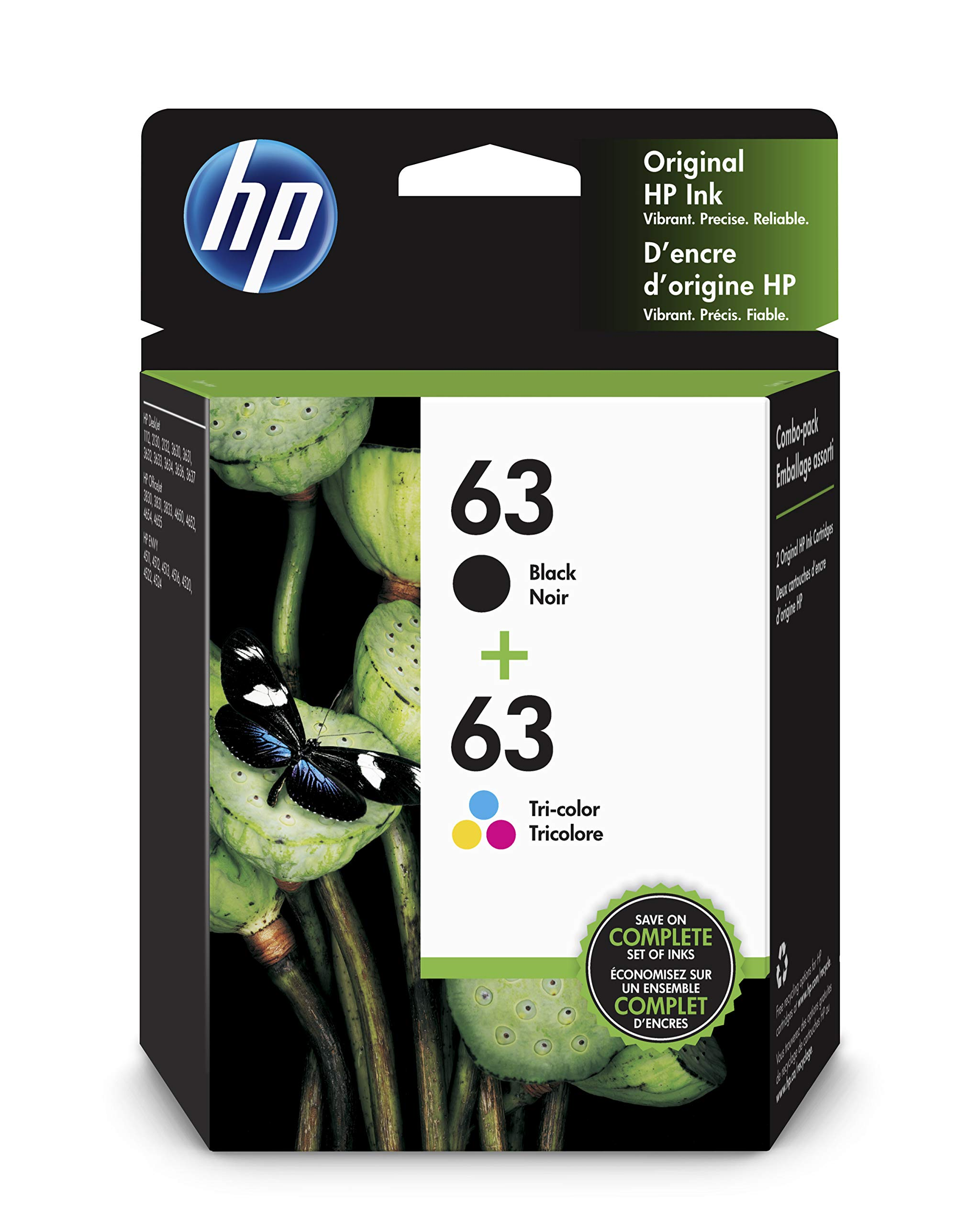 Genuine HP 63 Black//Tri-color Original Cartridges-HP3632 HP4520 HP3833 printer