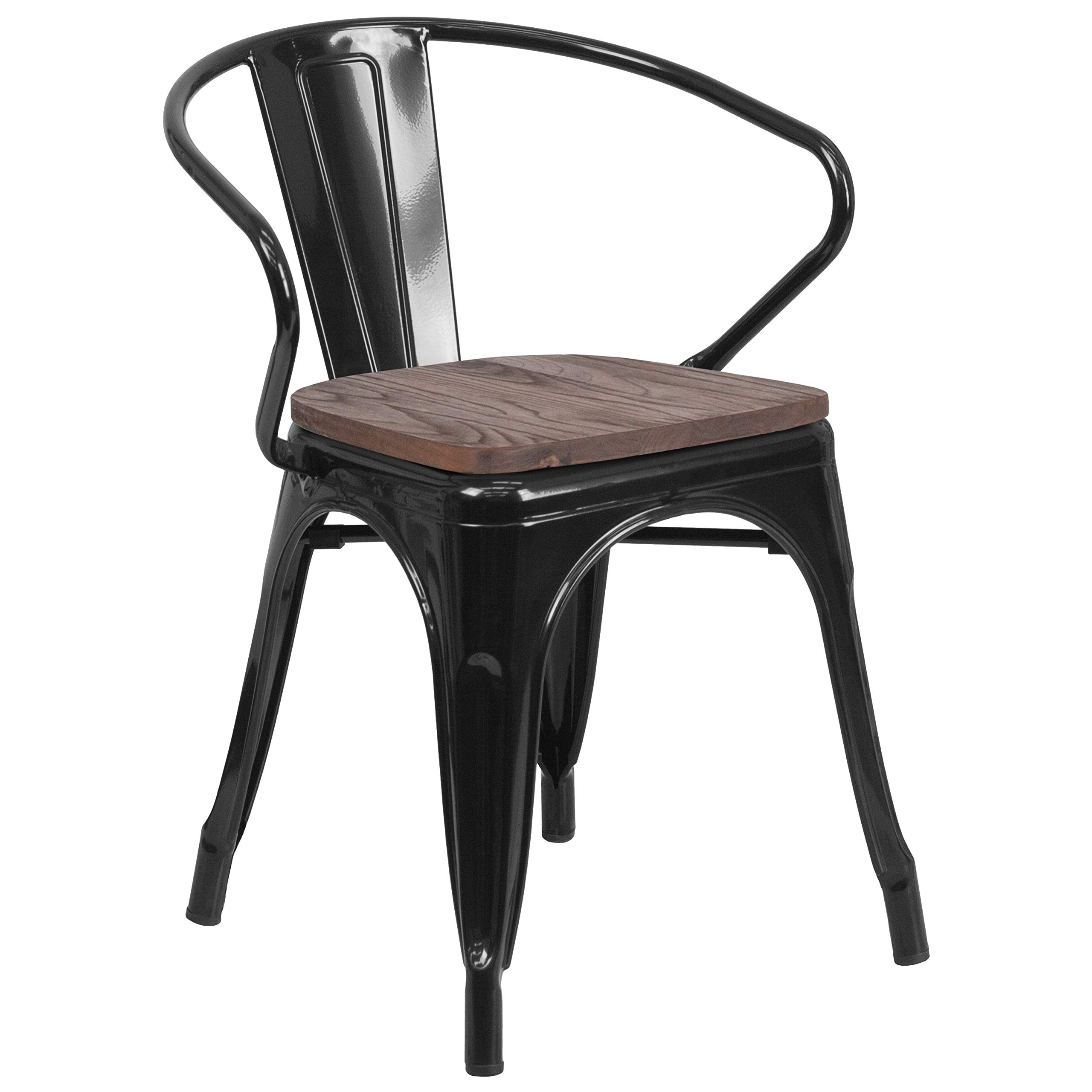 Flash Furniture CH-31270-BK-WD-GG Metal Colorful Restaurant Chairs, 1 Pack, Black
