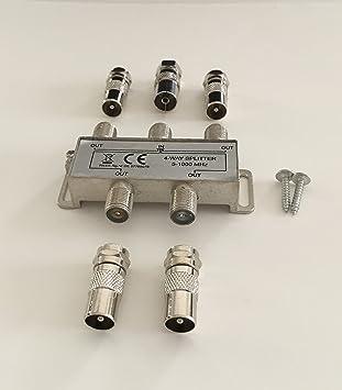 4 De Distribuidor de TV suave cuatro salidas, para DVB-T y televisión por cable para conector F y conector coaxial (IEC)
