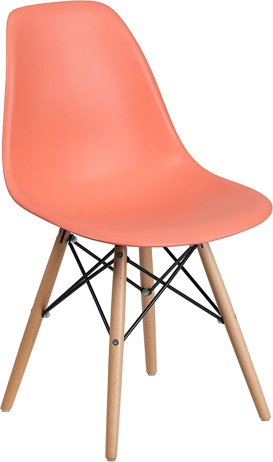 Flash Furniture Elon Series Peach Plastic Chair with Wooden Legs