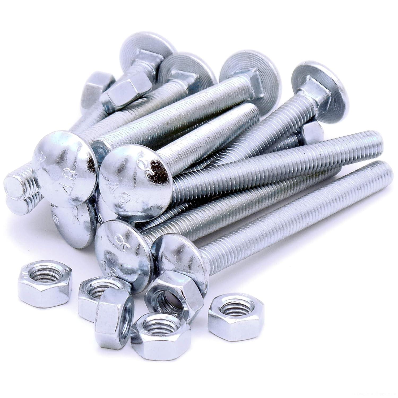 M8 (8 mm x 80 mm) Cup Schlossschrauben und Muttern –  Stahl (Pack von 10) Singularity Supplies
