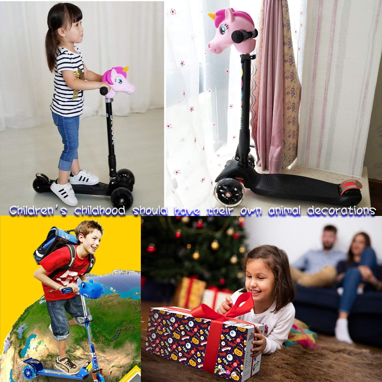 Scooter Accessories Unicorn Head for Toddlers Kids Girls,Pink Unicorn Horse Head Fit Micro Mini T-Bar Kick Scooter Bike